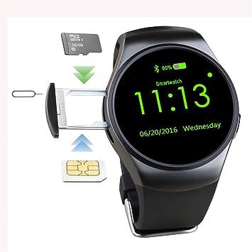 WWGG Tarjeta Inteligente Reloj Tarjeta De Llamada Bluetooth Ver Actividad Tracker Tensiómetro con Podómetro/Monitor De Sueño Ronda Dial Usable,Black: ...