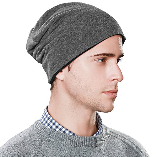 SIGGI Slouchy Beanie Hat for Guys Men Women Night Sleep Cap Cancer Chemo Patient Hats Winter Spring Soft Reversible Gray ()