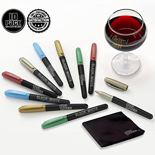 (10) Wine Glass Markers Pens Glass Graffiti Premium Metallic Writer Marker Liquid Chalk Pen & Wipe Cloth - Alternative To Party Wine Charms For Use On Glasses Crystal Windows (Metallic - 10 Pack)