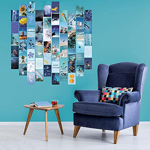 fantasy casa Blue Collage Kit for Wall Aesthetic Decor, 60 Set 4x6 inch Images, Room Decor for Teen Girls, Posters For Room Aesthetic, cool room decor aesthetic, Wall Collage Kit Aesthetic Pictures, Posters Aesthetic, Collage Kit