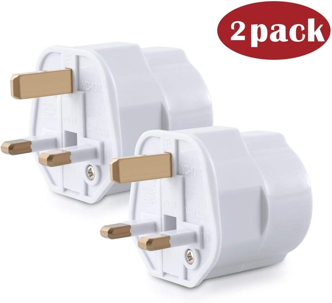 CABLEPELADO Adaptador de Enchufe de Europeo a Enchufe UK (3X, Blanco): Amazon.es: Electrónica