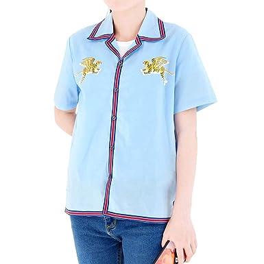 e5a187a1a736d BTS Mujer Camiseta Mangas Cortas Blusa Cuello Botones Camisas Solapa Cómodo Poleras  Camisas Flojo Ocasionales Túnica  Amazon.es  Ropa y accesorios