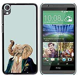Qstar Arte & diseño plástico duro Fundas Cover Cubre Hard Case Cover para HTC Desire 820 ( Elephant Art Portrait Painting Noble Man)
