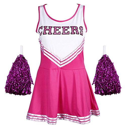 Jojobaby Women's Musical Uniform Fancy Dress Costume Complete Outfit (X-Small, Rose (High School Musical Cheerleader Costumes Adults)