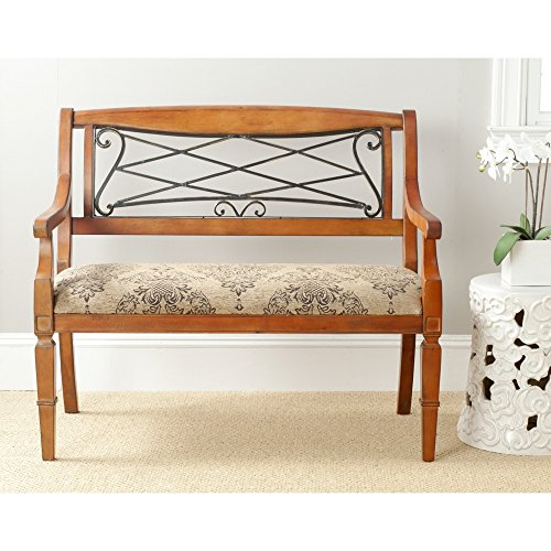 Safavieh American Home Collection Eton Antique Brown Cherry And Iron Upholstered Bench Buy