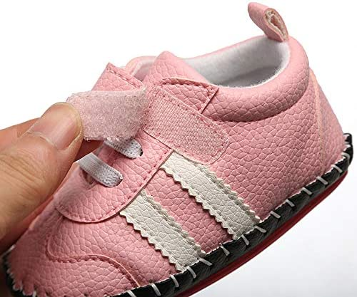SOFMUO Baby Girls Boys Pu Leather Sneakers Anti-Slip Rubber Sole Cartoon Moccasins Handmade Newborn Slippers Hard Bottom Toddler First Walkers Infant Crib Shoes