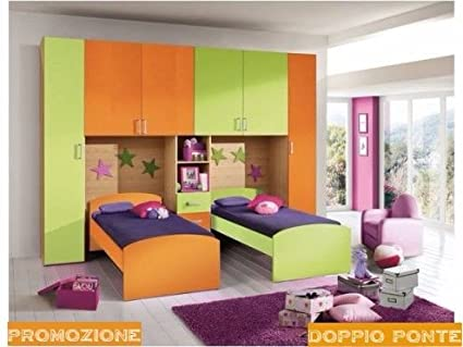 Cameretta Arancione E Blu : Cameretta a ponte arancio e verde con doppio letto amazon