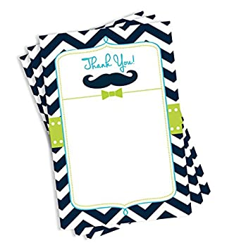 Amazon Com 50 Thick Card Stock Mustache Thank You Cards And