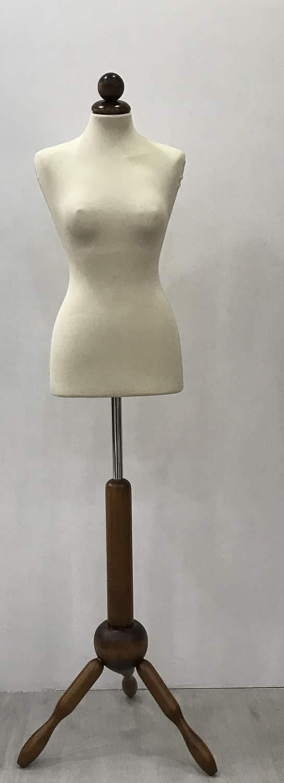 Manichino Busto Sartoriale Donna Veste in Jersey Base treppiedi in Legno Tappo Tondo in Legno arredoterminal one