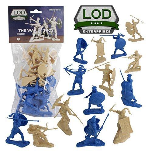 LOD Trojan War GREEKS vs. TROJANS Soldiers: 16 BLUE & TAN 1:30 Plastic ()