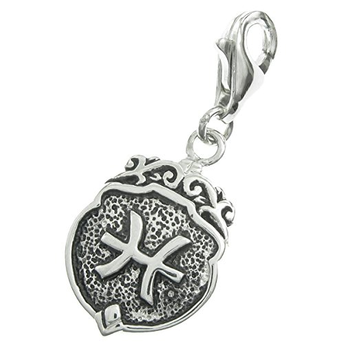 Sterling Silver Zodiac Charms (Dreambell Antique .925 Sterling Silver Horoscope Zodiac Pisces Dangle Bead Pendant Clasp European Lobster Trigger Clip On Charm)
