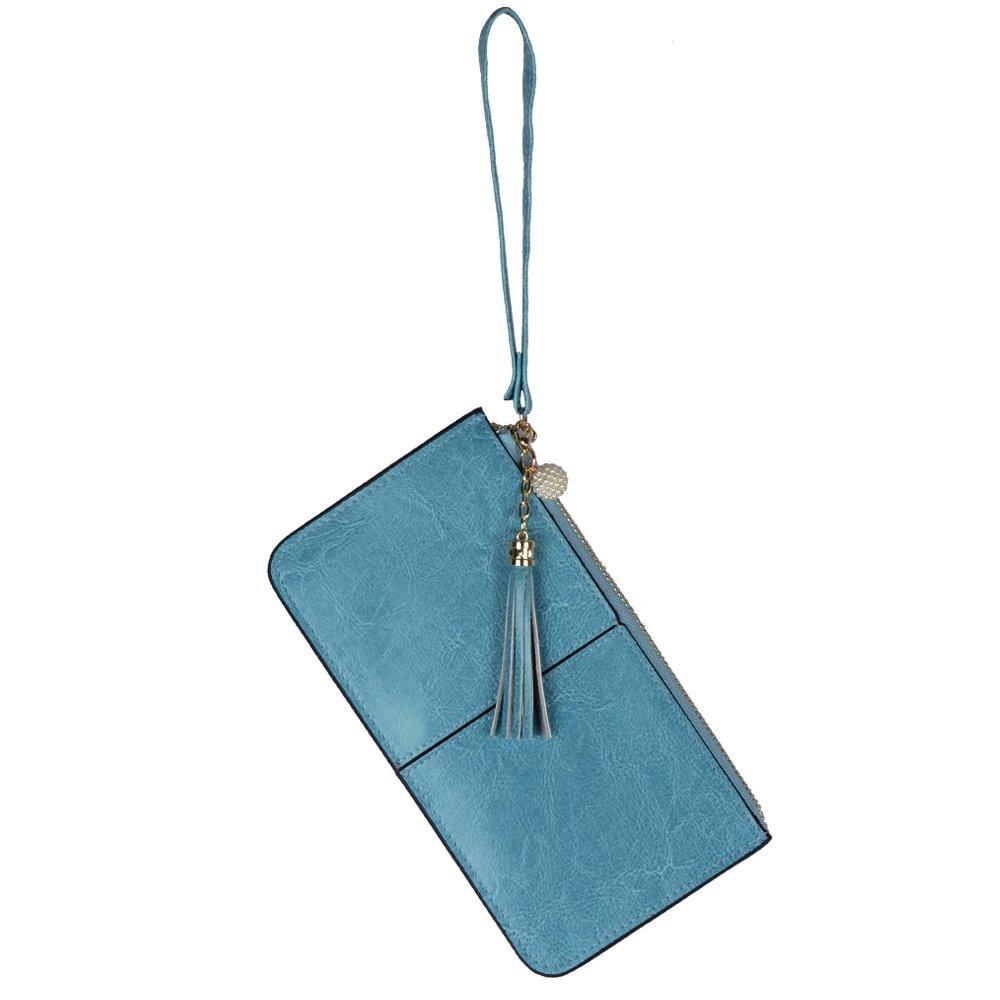 Lovena Soft Leather Wristlet Smartphone Zipper Wallet Tassel Wristlet (Teal Blue)