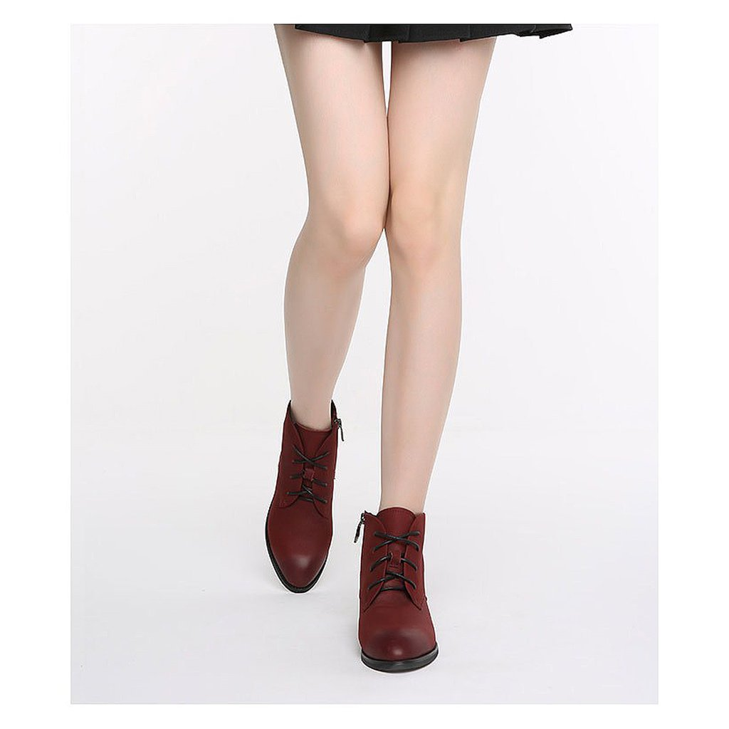 Women 's Martin Boots Fall Cowhide Casual Short Boots ( Color : Red , Size : US:6UK:5EUR:37 ) by LI SHI XIANG SHOP (Image #3)