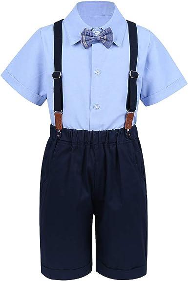 IEFIEL Camisa Manga Corta Bowtie Pantalones Tirantes Conjunto Ropa de Fiesta Boda Bautizo para Bebé Niño Verano Traje Gentleman 18 Meses - 7 Años Azul 5-6 Años: Amazon.es: Ropa y accesorios