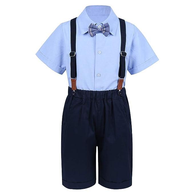 IEFIEL Camisa Manga Corta Bowtie Pantalones Tirantes Conjunto Ropa ...