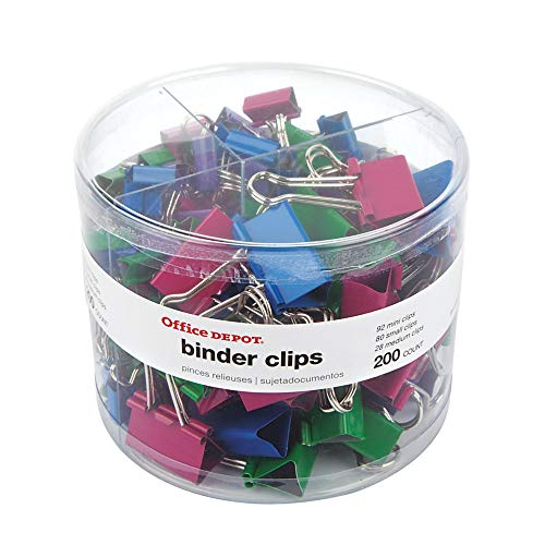 Office Depot Brand Binder Clip Combo Pack, Assorted Sizes, Assorted Colors, Pack of 200 from Office Depot