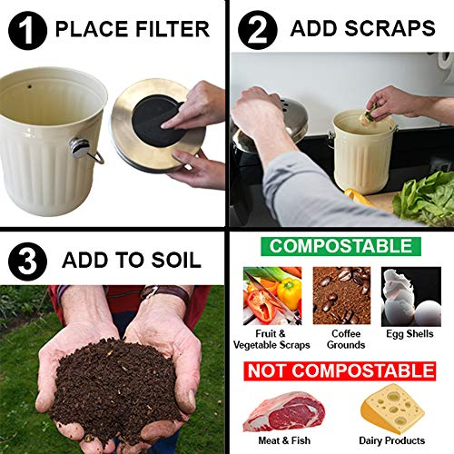iTouchless EcoWise Compost Bin Container Dual Deodorizer Activated Carbon Filters, 1.32 Gallon Kitchen Trash Can, Stainless Steel Lid, Odor-Stopping Power, Cream by iTouchless (Image #4)