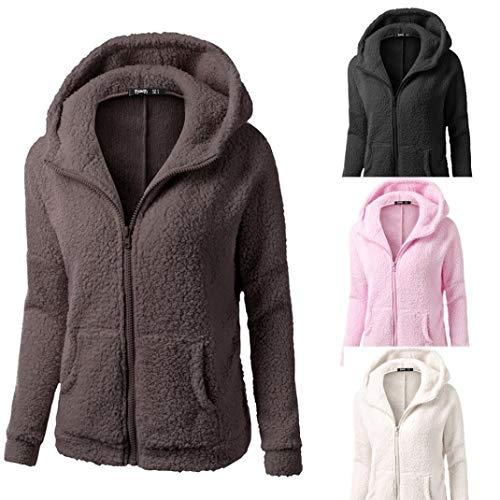 Sweat Manteau Manteau d'hiver Coton DEELIN Zipper Peluche Solid Hiver Femmes Chaud Hooded Outwear Manteau en Laine Caf HHw0qUx
