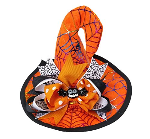Ahugehome Halloween Hair Clip Headband Mini Witch top Hat Girl boy Kid Cosplay Costumes (B Orange Spider webs Bats) (Spider Witch Outfit)