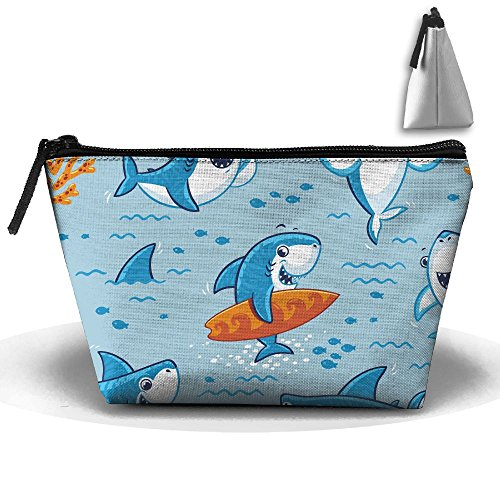 VIMUCIS Portable Printed Trapezoid Zippered Bag Cartoon Shark Toiletry - Shopping Bella Thorne