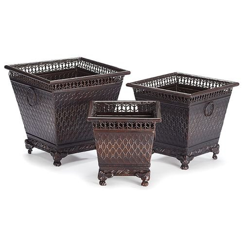 - Set of 3 Decorative Metal Planters with Diamond Design and Claw Feet Beautiful Home Decor