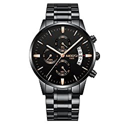 NIBOSI Men's Watches Chronograph Waterproof Military Quartz Luxury Fashion Casual Dress Wristwatches For Men Rose Gold Hands Stainless Steel Band 2309-QHMDgd