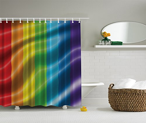 Rainbow Flag Shower Curtain Gay Pride Parade Fantasy Bathroom Love Wins Men Gifts for Gay Men Couple From Bestfriend Home Decor Bathroom Decorations Symbol of Love Red Orange Yellow Green Blue Purple