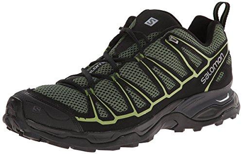 Salomon Men's X Ultra Prime Multifunctional Hiking Shoes Bettle Green / Black / Turf Green 10 and Waterbottle Bundle