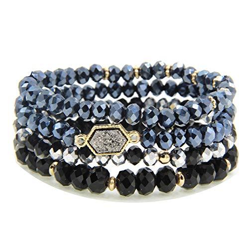 YUJIAXU Gold Beaded Bracelet Set, Square Stone Hexagon Druzy Stretch Beaded Stackable Bracelets Bangles (Platinum Druzy)