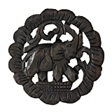 Charging Elephant Round Trivet Hot Plate Hand Carved Teak Wood