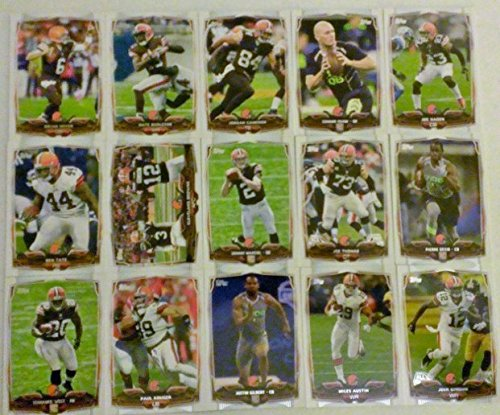 2014 Topps Football Cleveland Browns Side Set In a Protective Case - 15 cards including Johnny Manziel RC, Justin Gilbert RC, Pierre Desir RC, Terrance West RC, Connor Shaw RC, Nate Burleson, Brian Hoyer, Joe Haden, Paul Kruger, Josh Gordon, Jordan Camero
