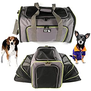 Pet Carrier for Dogs & Cats - Airline Approved Premium Expandable Soft Animal Carriers - Portable Soft-Sided Air Travel Bag - Best for Small or Medium Dog and Cat – Fits Under Front Airplane Seat …