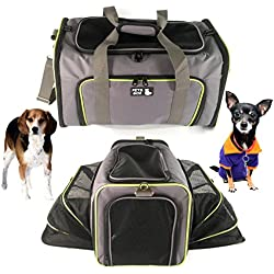 Pet Carrier for Dogs & Cats - Airline Approved Quality Expandable Soft Animal Carriers - Portable Soft-Sided Air Travel Bag - Best for Small or Medium Dog and Cat – Fits Under Front Airplane Seat