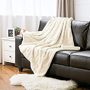 Faux Fur Throw Blanket PV Fleece Bed Throws 60 x80  Solid Ivory, Super Soft & Warm, Reversible with Flannel, Shaggy Fuzzy Fur Jacquard Rabbit Bed Blankets by Bedsure