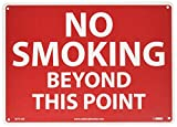 NMC M721AB No Smoking Sign, Legend ''NO SMOKING BEYOND THIS POINT'', 14'' Length x 10'' Height, Aluminum 0.40, White on Red