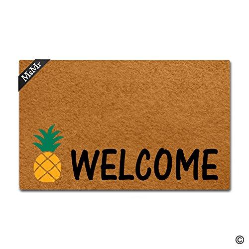 - MsMr Doormat Entrance Floor Mat Pineapple Welcome Mat Indoor Decorative Home and Office Door Mat 23.6 by 15.7 Inch