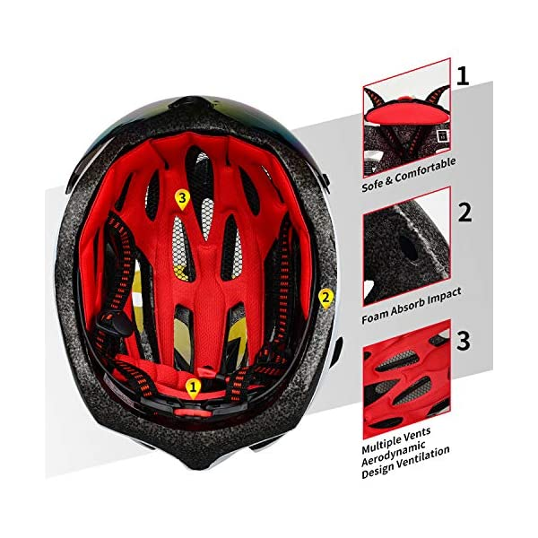 XINERTER Adult Bike Helmet,Road Bike Helmet and Cycling mask Detachable Magnetic Goggles,Replacement Lining Removable Bicycle Helmets for Men and Women Adjustable Size 22-24.2 Inches.