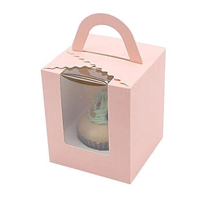 10 Pack claro panadería pastelería único cajas para cupcakes cajas de color puro con inserciones y