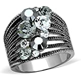 Marimor Jewelry Women's Vintage Stainless Steel AAA Grade Crystal Cocktail Fashion Ring Size 6