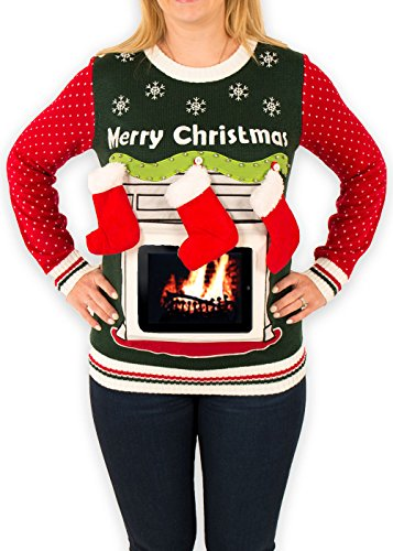 Women's iPad Tablet Fireplace Ugly Christmas Sweater in Green (X-Small)