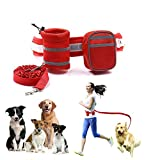 QBLEEV Hands Free Dog Leash for Running Walking Biking Hiking Durable Retractable Dual-Handle Bungee Reflective Stitching 6-Foot Long Adjustable Waist Belt (Fits up to 27.6''-47.2'' waist) (Red)