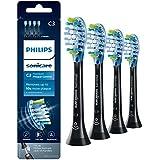 Philips Sonicare Premium Plaque Control replacement toothbrush heads, HX9044/95, BrushSync technology, Black 4-pk
