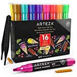 ARTEZA Liquid Chalk Markers Set of 16 (16 Bright Colors, 16 Replaceable Chisel Tips, 1 pc Tweezers, 50 Labels, 2 Sticky Stencils) – Dust-Free – Water Based Chalkboard Markers – Non Toxic – Multi-Use