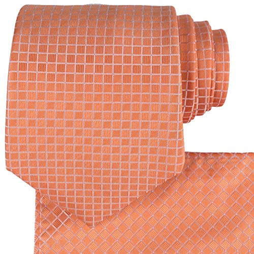 KissTies Orange Necktie Pocket Square Checker Pattern Tie Set + Gift Box