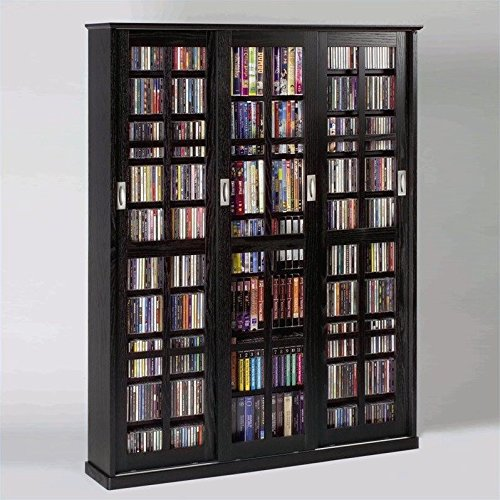 Leslie Dame MS-1050B Mission Style Multimedia Storage Cabinet with Sliding Glass Doors, Black
