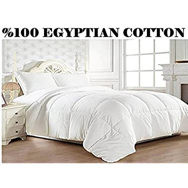 Elegant Comfort 1200 Thread Count Goose Down Alternative 100% Egyptian Cotton Comforter, King/California King, Solid White
