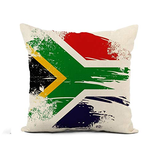 Awowee Flax Throw Pillow Cover Africa South African Flag Johannesburg Pattern Abstract Culture Translation 16x16 Inches Pillowcase Home Decor Square Cotton Linen Pillow Case Cushion Cover (South Chair Patio Covers Africa)