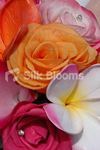 Tropical-Orange-Pink-Mini-Posy-Bouquet-w-Frangipanis-Roses
