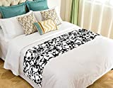 NNBZ Custom Black and White Damask Pattern Classic Vintage French Floral Swirls Bed Runner Cotton Bedding Scarf Bedding Decor 20x95 inches