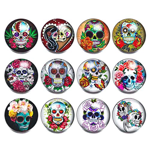 Soleebee 12 pcs Round Aluminum Glass 18mm Snap Button Jewelry Charms for Interchangeable Snaps Jewelry Making (Flower Skull)]()